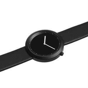 Facette Watch Black Steel on Black Italian Leather