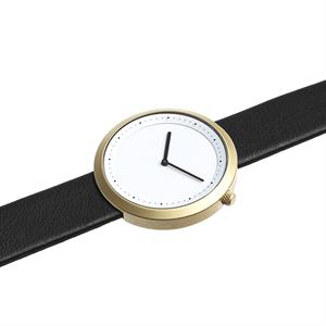 Facette Watch Matt Golden Steel on Black Italian Leather