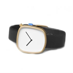 Pebble Watch Matt Golden Steel on Black Italian Leather