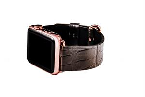 Hadoro Apple Watch Gold Rose Alligator Grey Strap